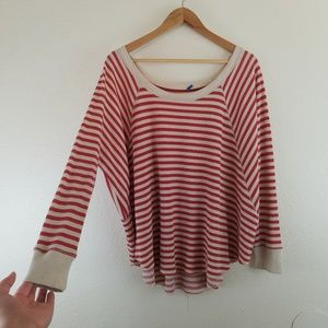 Free People Ivory Red Striped Thermal Scoop Top A3